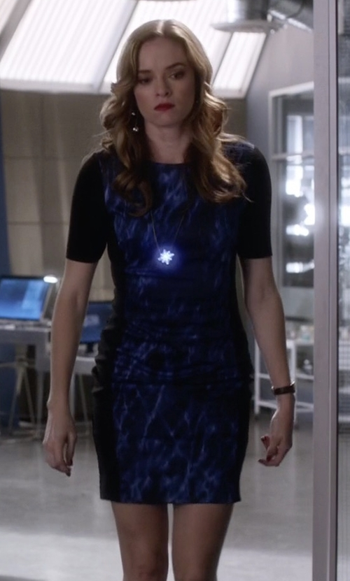 Danielle Panabaker with T Tahari Allison Printed Dress in The Flash
