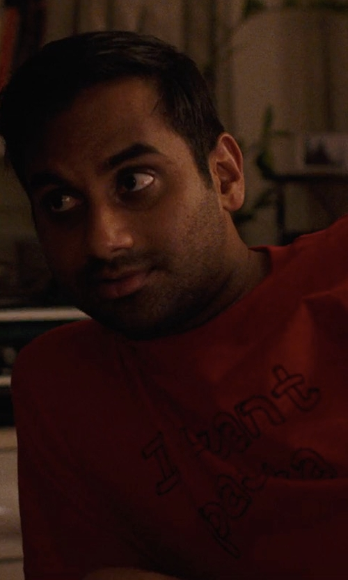 Aziz Ansari with Redbubble I Want Pasta T-Shirt in Master of None