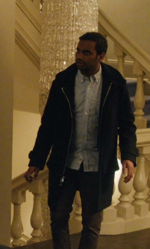 Aziz Ansari with Asos Asymmetric Overcoat in Master of None