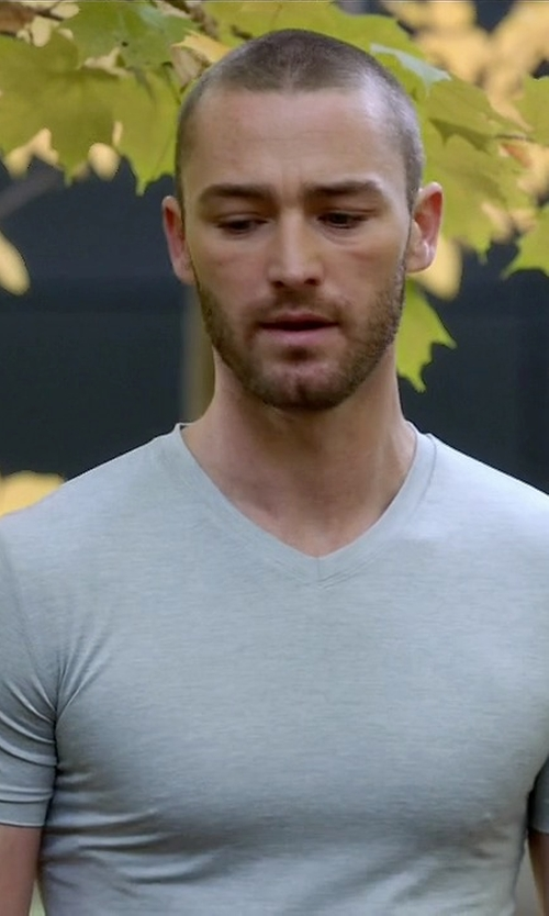 Jake McLaughlin with Diesel Logo V-Neck Slim Fit T-Shirt in Quantico