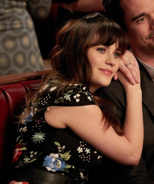 Zooey Deschanel with Alice + Olivia 'Ellen' Short-Sleeve Embroidered Dress in New Girl