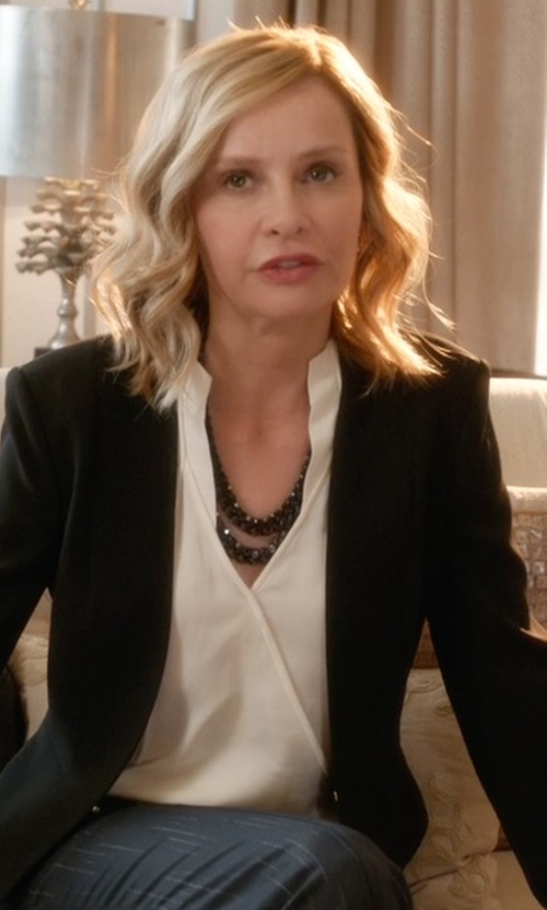 Calista Flockhart with NYDJ Fit Solution Wrap Blouse in Supergirl