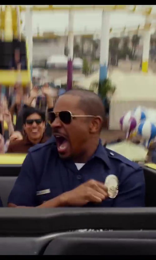 Damon Wayans Jr. with Ray-Ban Lightweight Aviator Sunglasses in Let's Be Cops