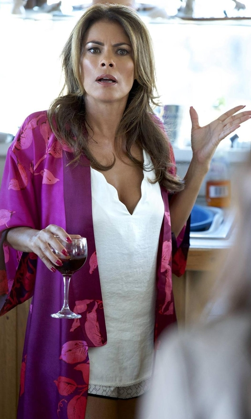Lisa Vidal with Old Shanghai Peacock & Blossoms Kimono Robe in Rosewood