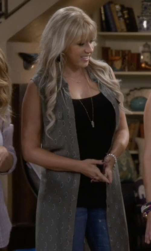 Jodie Sweetin with Free People Sheer Trench Sweater Vest in Fuller House
