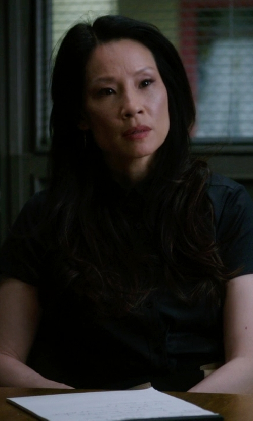 Lucy Liu with Calvin Klein Jeans Poplin Shirt in Elementary