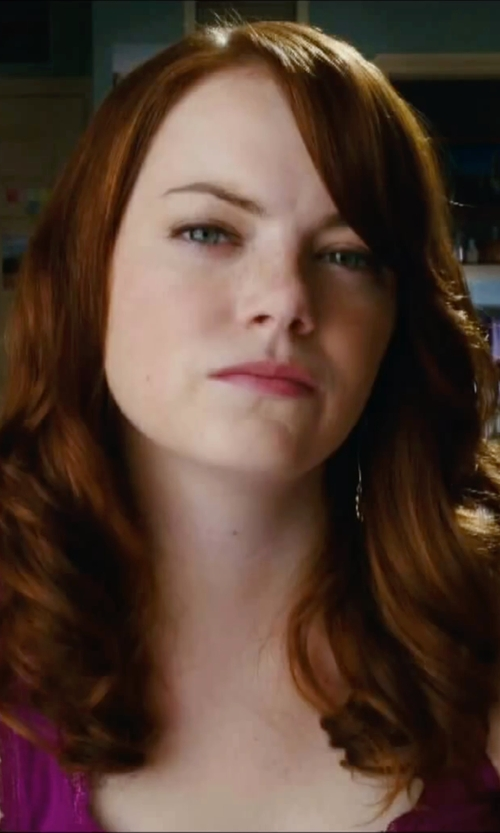 Emma Stone with H&M Lace Trim Tank Top in Easy A