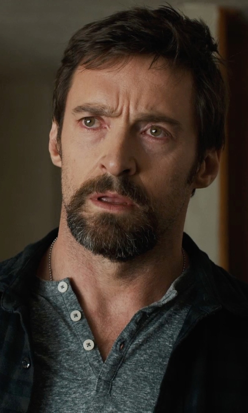 Hugh Jackman with Old Navy Gray Vintage Jersey Henley in Prisoners