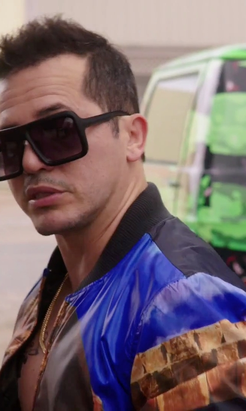 John Leguizamo with Just Cavalli Print Bomber Jacket in American Ultra