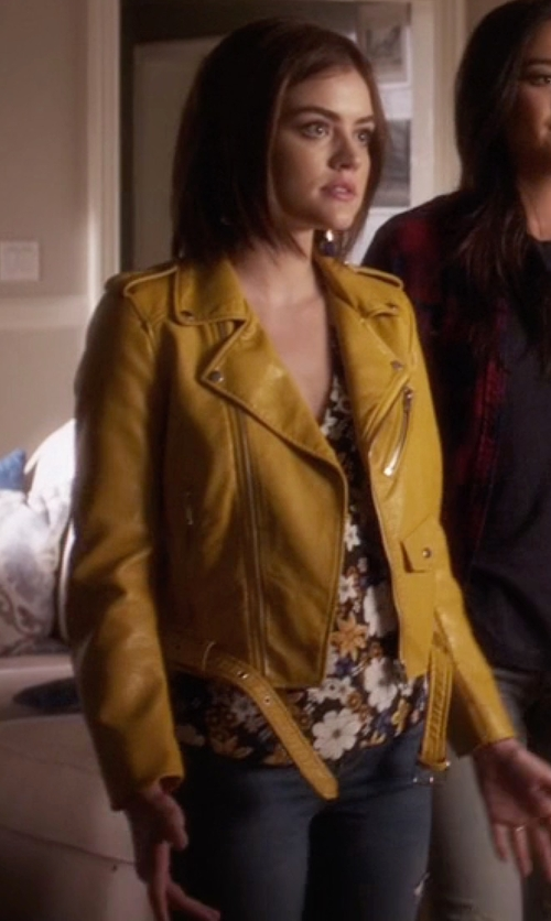Lucy Hale with Zara Faux Leather Jacket in Pretty Little Liars