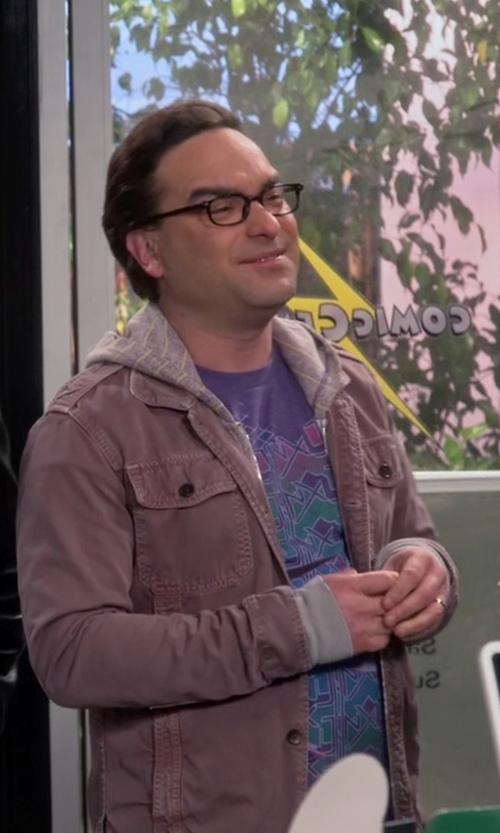 Johnny Galecki with Dakota Grizzly Hunter Distressed Shirt Jacket in The Big Bang Theory