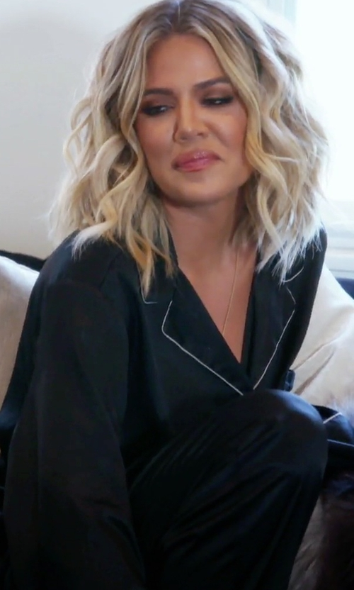 Khloe Kardashian with Neiman Marcus Silk Satin Two-Piece Pajama Set in Keeping Up With The Kardashians