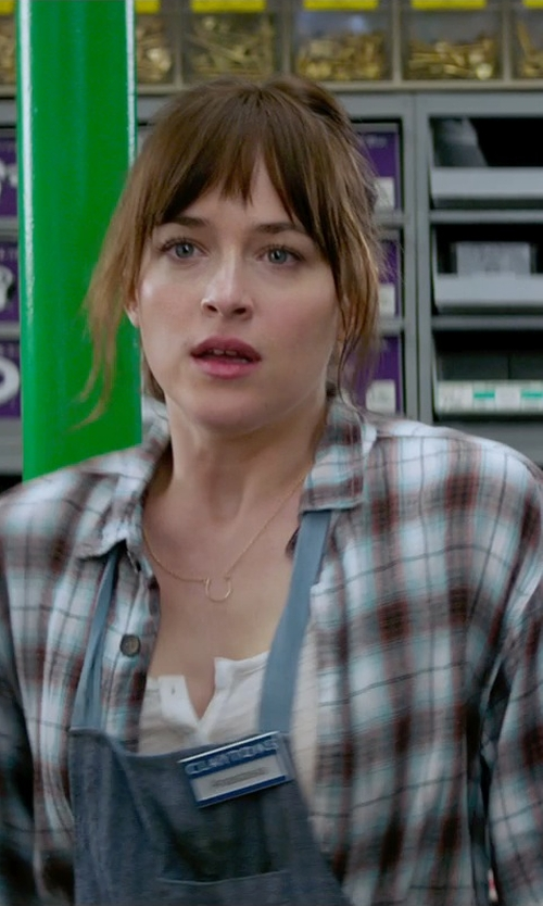 Dakota Johnson with Rip Curl Cozy Up Flannel Shirt in Fifty Shades of Grey