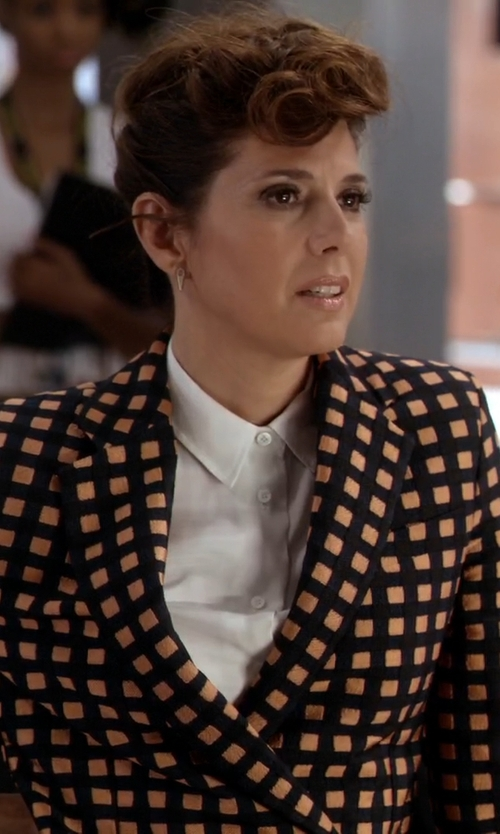 Grace Gealey with Cédric Charlier Double-Breasted Check-Jacquard Blazer in Empire