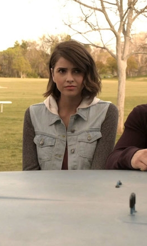 Shelley Hennig with Thread & Supply Hooded Denim Jacket in Teen Wolf