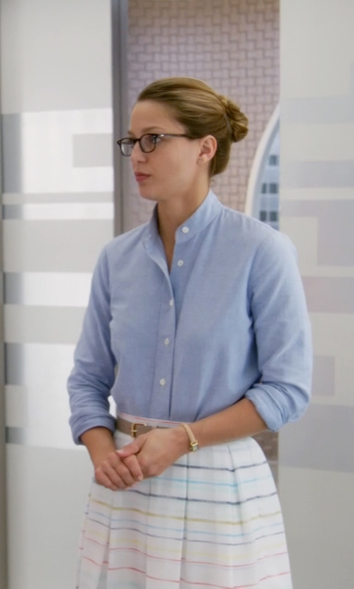 Melissa Benoist with Tularosa Oliver Stripe Midi Skirt in Supergirl