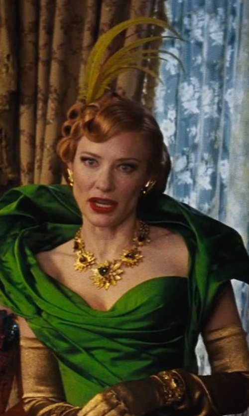 Cate Blanchett with Sandy Powell (Costume Designer) Custom Made Gold Floral Necklace (Lady Tremaine) in Cinderella