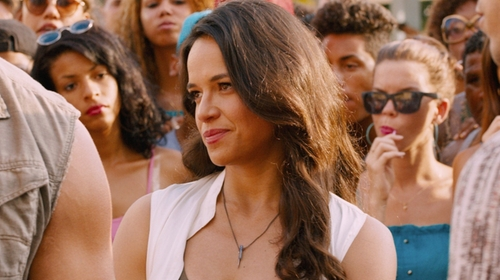 Michelle Rodriguez with Natalie B Jewelry Uptown Necklace in The Fate of the Furious