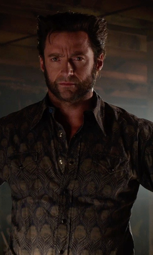 Hugh Jackman with Liberty London Peacock Print Dress Shirt in X-Men: Days of Future Past