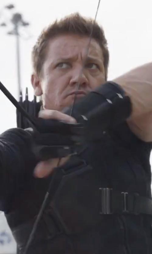 Jeremy Renner with Judianna Makovsky (Costume Designer) Custom Made Hawkeye Suit in Captain America: Civil War