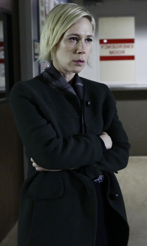 Liza Weil with Fleurette Mock-Neck Wool Coat in How To Get Away With Murder