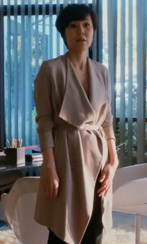 Yunjin Kim with Achro Bonded Trench Coat in Mistresses
