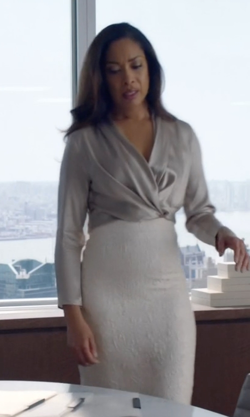 Gina Torres with Jonathan Simkhai Textured-Knit Pencil Skirt in Suits