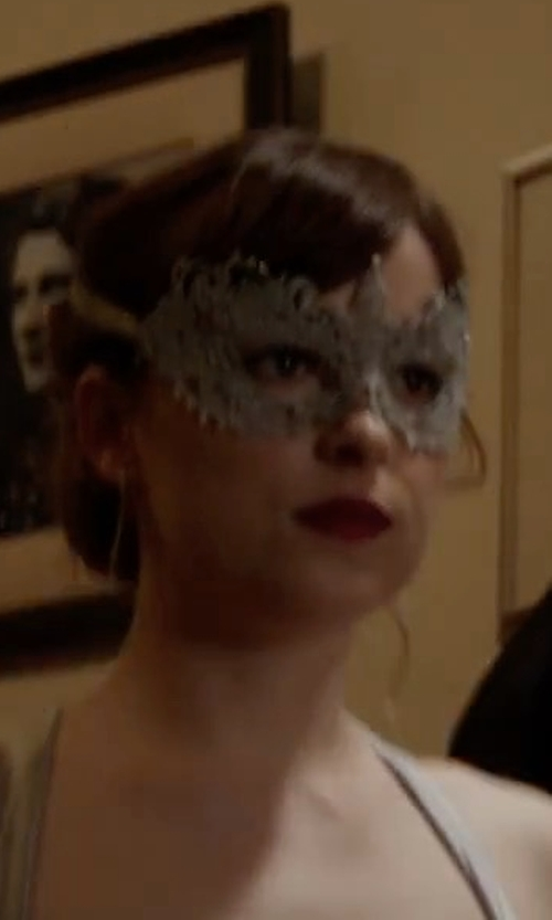 Dakota Johnson with Samantha Peach Silver Grey Lace Goddess Mask in Fifty Shades Darker
