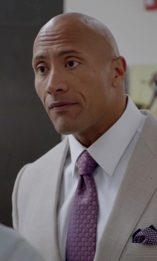 Dwayne Johnson with Stefano Ricci Square Medallion-Print Silk Tie in Ballers