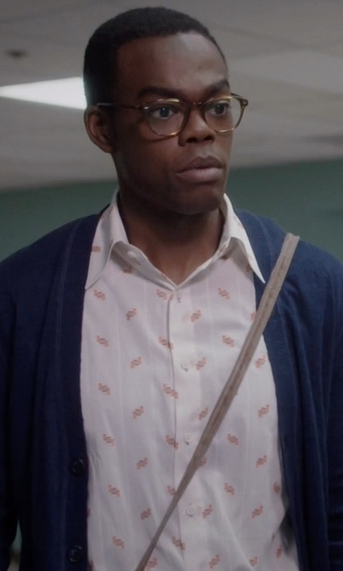 William Jackson Harper with Paul Smith Jeans Printed Shirt in The Good Place