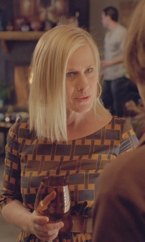 Patricia Arquette with Kenneth Cole New York Textured Round Drop Earrings in Boyhood