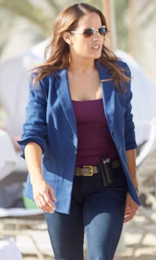 Jaina Lee Ortiz with Joie Pernilla Chambray Linen Blazer in Rosewood