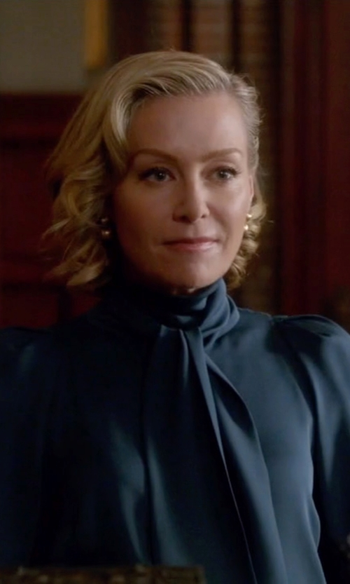 Portia de Rossi with Gucci Pussy-Bow Silk-Georgette Top in Scandal