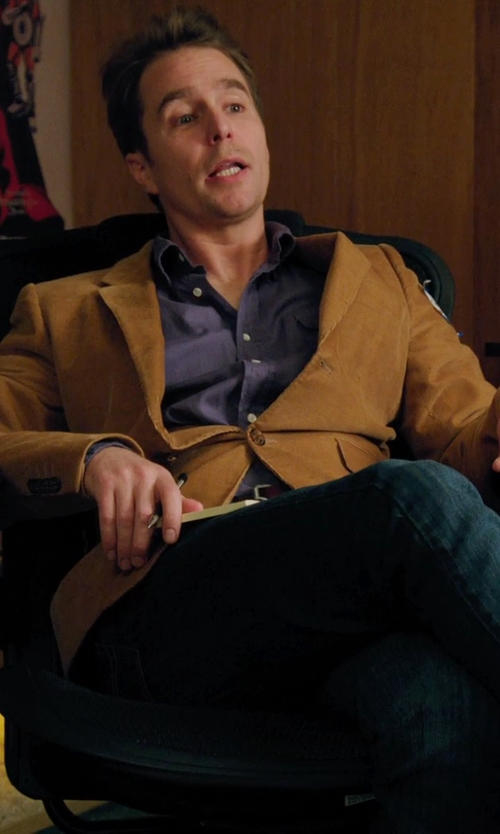 Sam Rockwell with Billy Reid Wesley Cord Suit Jacket in Laggies