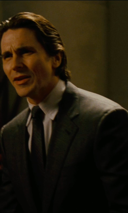 Christian Bale with Giorgio Armani Custom Made Notch Lapel Suit (Bruce Wayne) in The Dark Knight Rises
