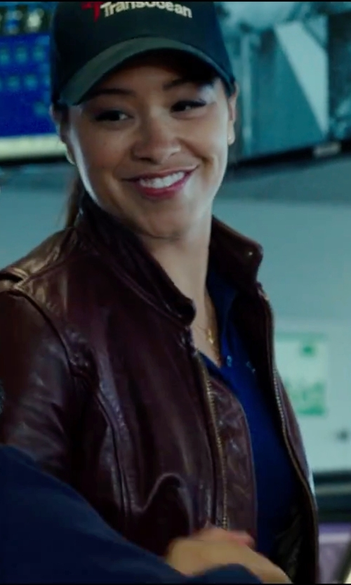 Gina Rodriguez with OC Avenue Vegan Leather Jacket in Deepwater Horizon