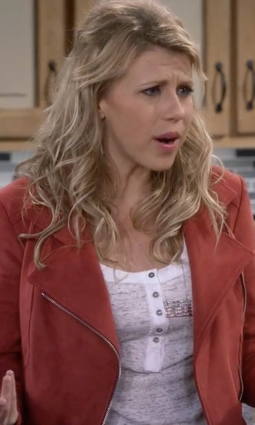 Jodie Sweetin with Express Faux Suede Moto Jacket in Fuller House