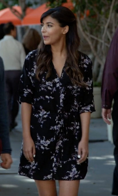 Hannah Simone with Rebecca Taylor Long-Sleeve Floral-Print Silk Shirtdress in New Girl