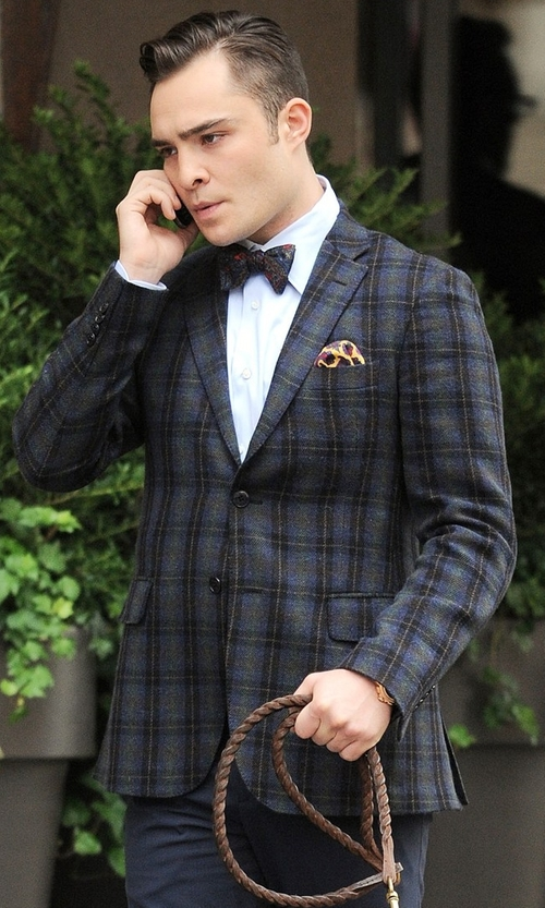 Ed Westwick with Michael Michael Kors Classic-Fit Sport Coat in Gossip Girl
