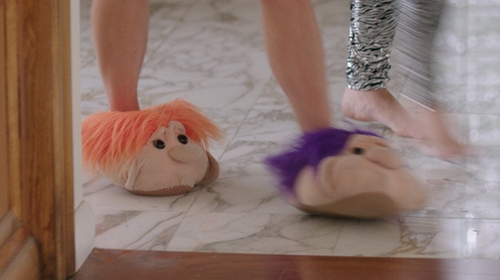 Tina Fey with Bluestar Novelty Furry Monster Adventure House Slippers in Sisters