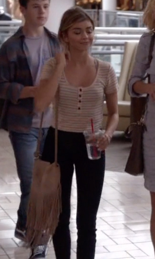 Sarah Hyland with Street Level Mini Suede Crossbody Bag in Modern Family