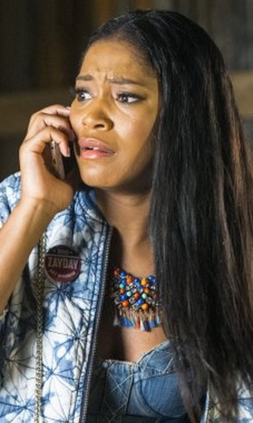 Keke Palmer with Rebecca Minkoff Mojito Denim & Jersey Bustier Top in Scream Queens