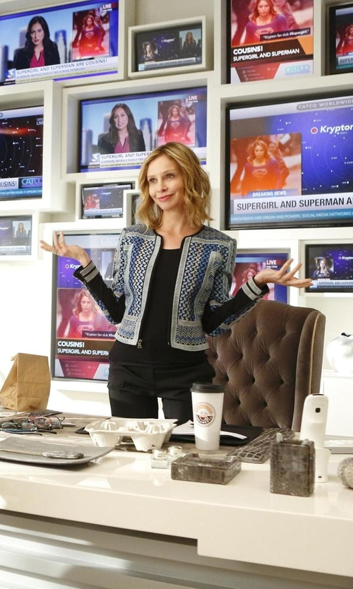 Calista Flockhart with BCBGMAXAZRIA Duke Embroidered Woven Jacquard Jacket in Supergirl