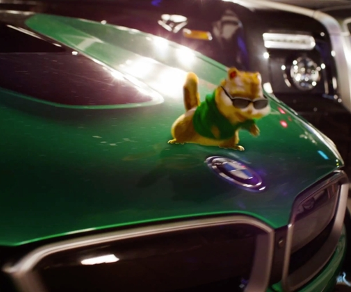 Jesse McCartney with BMW i8 Sports Car in Alvin and the Chipmunks: The Road Chip