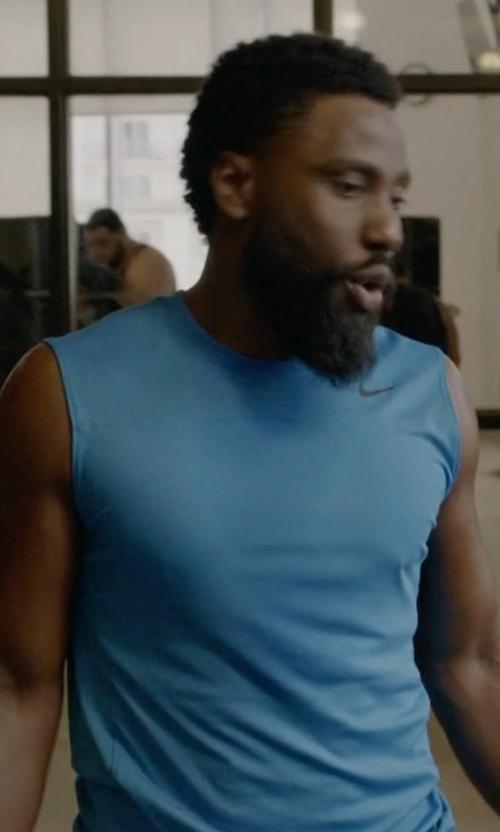 John David Washington with Nike Fitted Sleeveless Shirt in Ballers