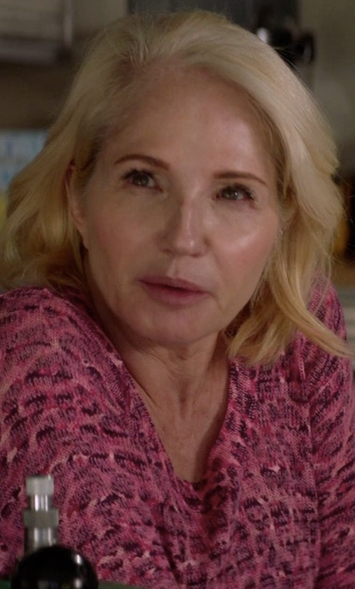 Ellen Barkin with Milly Brooke Floral-Print Chiffon Blouse in Animal Kingdom