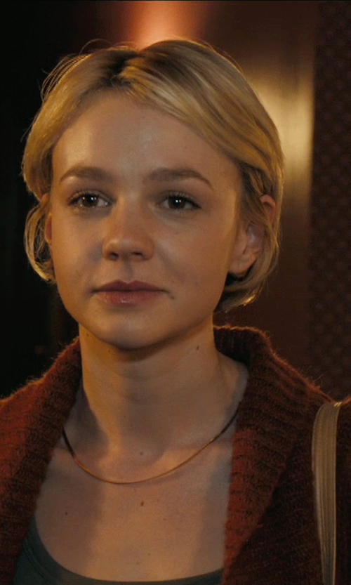 Carey Mulligan with Jones New York Drape Front Novelty Stitch Cardigan in Drive
