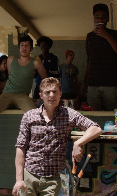 Dave Franco with Billy Reid Walland Small Plaid Sport Shirt in Neighbors