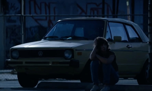 Alison Brie with Volkswagen 1987 Cabriolet Coupe in Glow