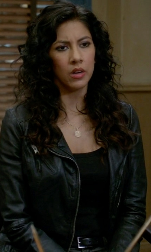 Stephanie Beatriz with Neiman Marcus Lambskin Moto Leather Jacket in Brooklyn Nine-Nine